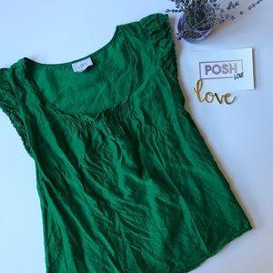 LOFT Green Silk Blouse